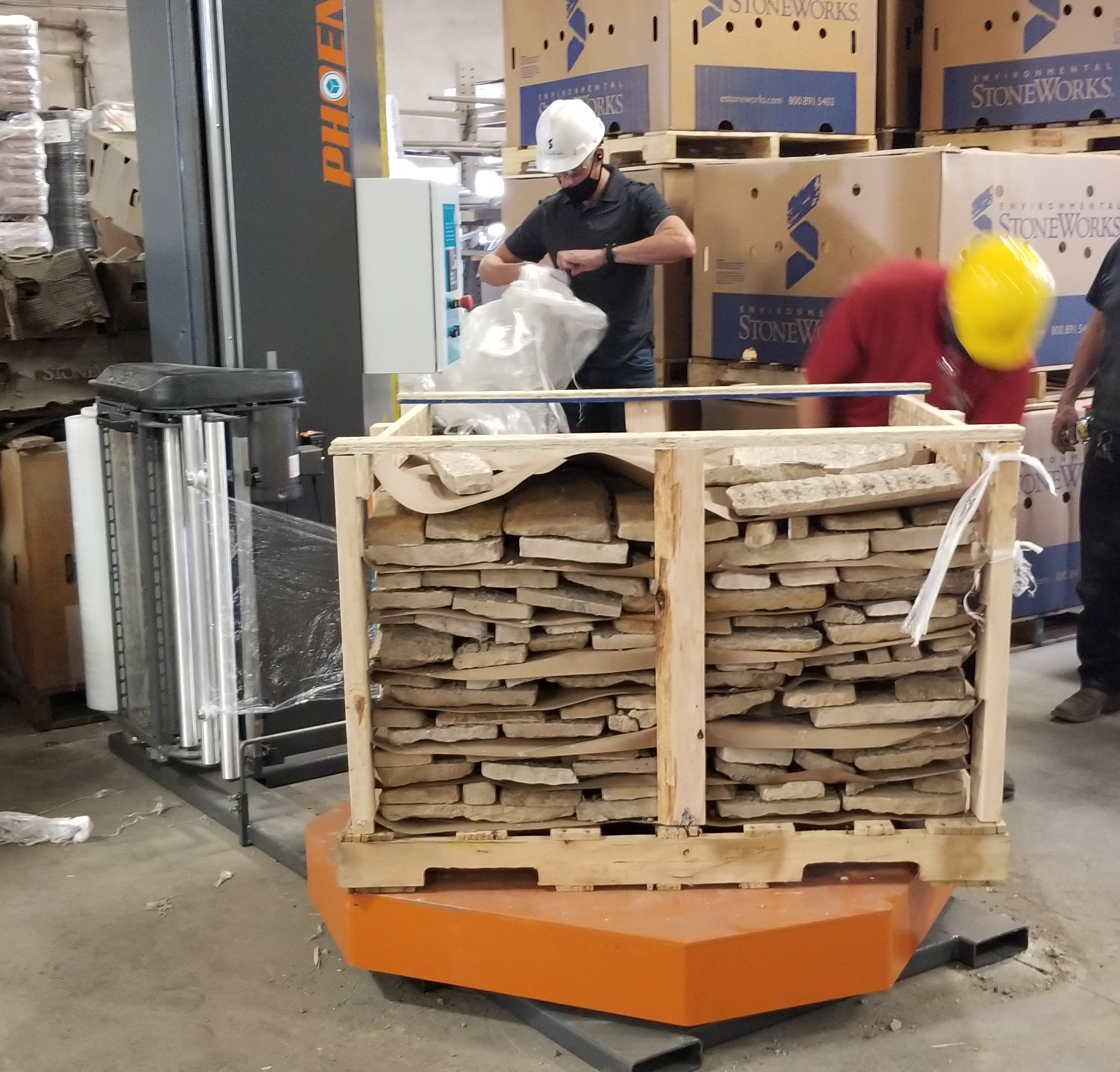 Forklift Loaded High Profile Pallet Wrapper For Stone